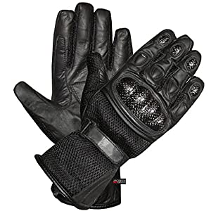 CARBON Fiber Motorcycle Mesh & Leather Race Gloves L