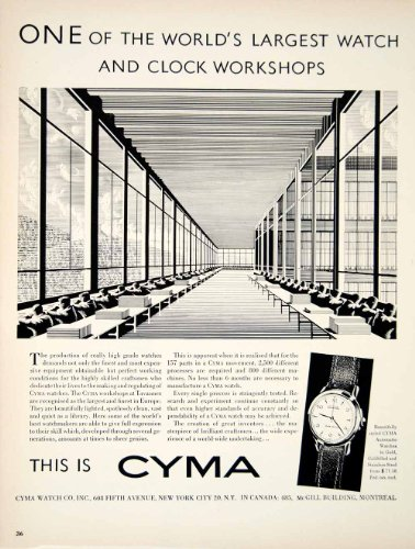 1950-ad-cyma-watch-608-fifth-ave-new-york-clock-workshop-timepiece-gold-steel-original-print-ad