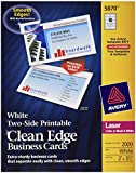 Avery Clean Edge Laser Business Cards, White, 2 x 3.5 Inches, Box of 2000 (5870)