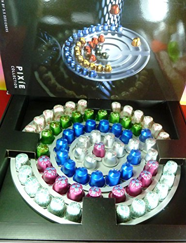 Nespresso 69 Capsules Limited Coffee (10 Maragogype,15 Peru,12 Palermo,12 Milano,10 Tanim,10 Umutima) With Free Aluminum Pixie Target Wall Capsules Dispenser (Nespresso Discovery Box compare prices)