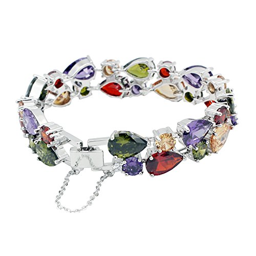 HERMOSA Multi Gemstones Sets 925 Silver Peridot Amethyst Garnet Morganite(Bracelet) (Diamond And Gem Bracelets compare prices)