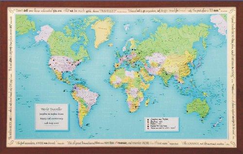 Personalised World Traveller Map in dark wood