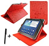 Luxury Red Cute PU Leather Case Stand Cover for Fujitsu Stylistic M532 10.1'' 10.1 Inch Android Tablet Pc + Stylus Pen
