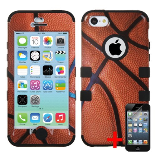 APPLE IPHONE 5C BROWN BLACK BASKETBALL SPORT HYBRID RIB CAGE COVER HARD GEL CASE + FREE SCREEN PROTECTOR from [ACCESSORY ARENA]