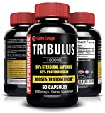 Pure Tribulus Terrestris, Increases Libido, Sex Drive & Stamina, Promotes Natural Testosterone Production, 95% Saponin, 80% Protodioscin, Top Rated Highest Potency Tribulus on Amazon, 1000mg - 90 Fast Action Capsules