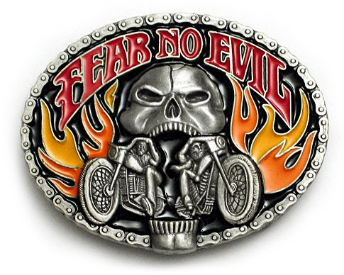 Buy FEAR NO EVIL Belt Buckle Hooligan Punk Biker Tattoo