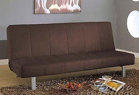 Adjustable Futon Sofa with Metal Legs in Brown Microfiber