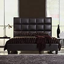 Hot Sale Queen Size Modern Bed with Faux Leather Headboard