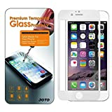 iPhone 6 Plus 5.5 Screen Protector - JOTO Apple iPhone 6+ Full Screen Tempered Glass Screen Protector Film, Edge to Edge Premium Protection Screen Cover Saver [Crystal Clear, 9H+ hardness Scratch Resistant, Anti-fingerprint Oleophobic coating, Touchscreen Precision] Best Full Screen Protection Guard for Apple iPhone 6 Plus 5.5 inch (1 Pack, Clear/White)