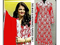 Khazanakart New Attractive Red Colour Georgette Fabric Bollywood Style Designer Salwar Suit Dress Material For Women