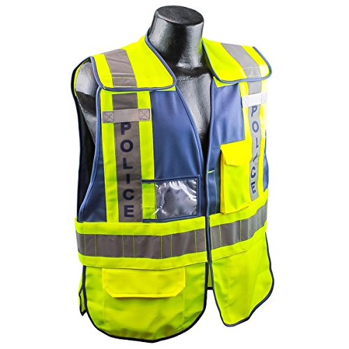 Full Source PSV-POLICE ANSI 207 Public Police Safety Vest - Lime & Navy - 3XL/4XL