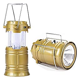Tpfro 6 LED Solar Power Camping Lantern Light Rechargable Collapsible Night Light Waterproof Outdoor Super Bright Hiking Flashlight,Brown