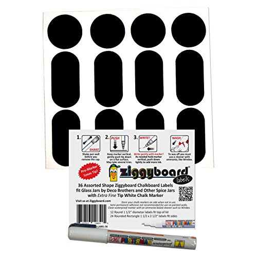 Ziggyboard Chalkboard Spice Jar Labels Fit Deco Brothers Glass Jars and Other Style or Brand Jars and Include 12 Round Labels, 24 Rounded Rectangle Labels and Extra Fine White Chalk Marker (Deco Spice Jar compare prices)