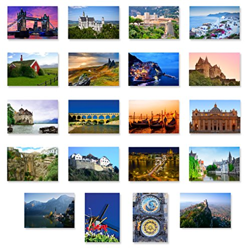 CHARMING EUROPE postcard set of 20. Post card variety pack with European travel theme and several UNESCO word heritage sites postcards. Made in USA. (World Postcards compare prices)