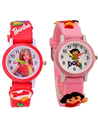 S S TRADERS -Red Barbie Analog Watch And Pink Dora Analog Watches For Kids- Best Birth Day Return - Kids Watches...