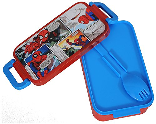 Marvel Spiderman Plastic Lunch Box Set, 450ml, 3-Pieces, Red/Blue