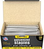100 6-Inch Galvanized Garden Landscape Sod Staples Stakes Pins, Anti-Rust 11-Gauge - For Weed Barrier Fabric, Ground Cover, Sod, Landscaping, Garden, Soaker Hose, Dog Fence, Irrigation, Plant Cages