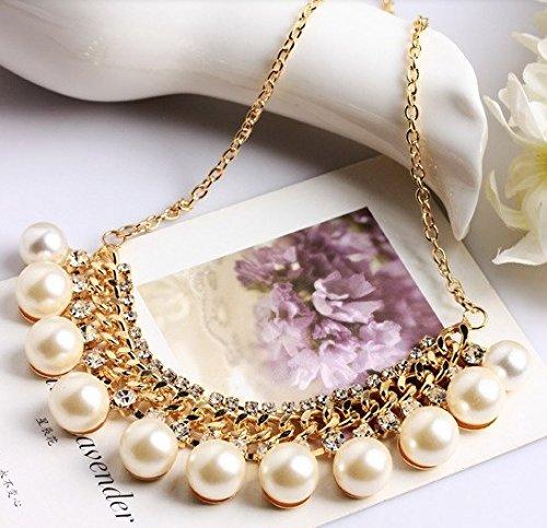 Amazon.co.jp: petit mariage[ペティーマリアージュ] パール & ビジュー ゴールド ショート ネックレス: Amazonファッション通販
