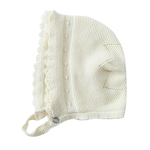Toubaby Toddler Girl Autumn Winter Pink Lace Bonnet Baby Hats 0-18M (6-18M, white)