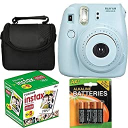 Fujifilm Instax Mini 8 Instant Film Camera (Blue) With Fujifilm Instax Mini 5 Pack Instant Film (50 Shots) + Compact Bag Case + Batteries Top Kit - International Version (No Warranty)