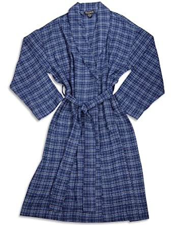 State O Maine - Mens Flannel Plaid Robe, Navy, Blue (Size onesize)