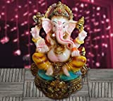 Tiedribbons-Beautiful Lord Ganesha Idol_Exotic Figurine for Diwali Decoration at Home_ Traditional Religious Gift(11cm x 9cm)