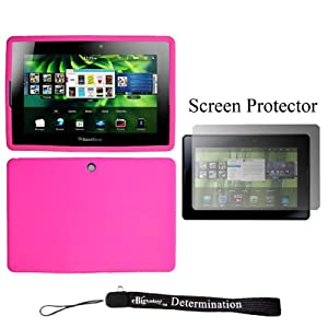 Magenta Durable Protective Silicone Gel Skin Cover Case For Blackberry Playbook 7 Inch 4G Tablet (16 GB 32 GB 64 GB) + Blackberry Playbook Screen Guard Protector + an eBigValue TM Determination Hand Strap