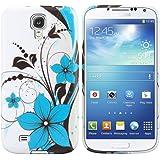 kwmobile Hülle TPU Silikon Case für Samsung Galaxy S4 Mini mit Blumen-Design - Handy Cover in Weiß Hellblau etc.