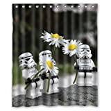 """Flower Power Funny Stormtroopers Pattern Custom Waterproof Polyester Fabric Bathroom Shower Curtain with 12 Hooks 60""""(w) x 72""""(h)- Bathroom Decor by Qearl"""