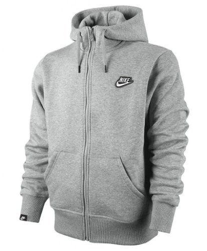 Nike Men's Fleece Full Zip Hooded Hoodie Hoody Sweatshirt Tracksuit Top grey Extra Large