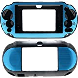 For PlayStation PS VITA 2000 Slim (PCH-2000 Slim Only) Hybrid Brushed Aluminum Metal Plated Crystal Case Cover + Screen Protector