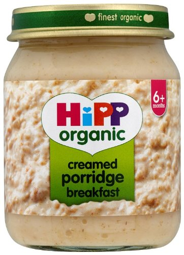 HiPP Organic Stage 1 From 6+ Months Creamed Porridge Breakfast 6 x 125 g (Pack of 2, Total 12 Pots)