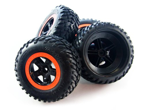 Traxxas 1/10 Slash 2WD VXL * TIRES, BLACK WHEELS & ORANGE BEAD LOCKS * 12mm Hex