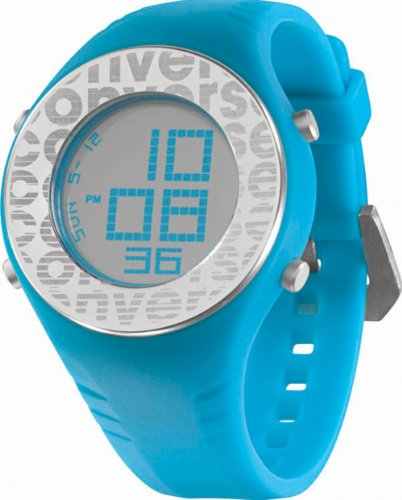Converse Men's VR007460 Pickup Black Digital Dial and Turquoise Polyurethane Strap Watch