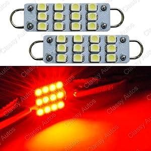 Classy Autos Brilliant Red LED Bulbs 12 SMD Festoon lights 42mm to 44mm Rigid Loop (A Pair)