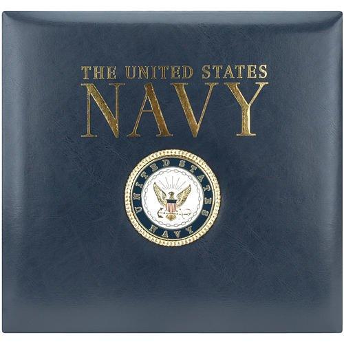 K&Company Leather Navy 12-by-12-Inch Scrapbook, Navy Blue