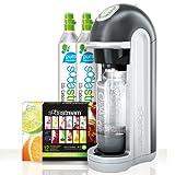 SodaStream Fizz Soda Machine - With (2) X 60-Liter CO2 Carbonator Reusable Spare Cylinders - Mega Pack Bonus Bundle Kit Also Includes 12-Flavor Taste Samplers and One 1Liter Reusable Carbonating Bottle