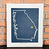 TRUE BLUE! College Pride Wall Art - Georgia Southern Artwork - True Blue - Georgia Southern University - Blue and Gold - Georgia Southern Eagles - UNFRAMED Poster Print - Chalkboard Finish