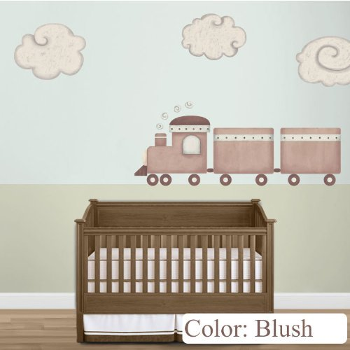 My Wonderful Walls Train and Cloud Wall Stickers for Baby Nursery or Kids Room Wall Mural, Blush