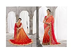New Arrival Orange Crush Pallu Patli Shaded Net And Silk fabric heavy Embroidery Collection By Regalia Gashion