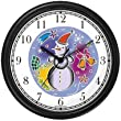 Snowman or Snow Man Christmas Theme Wall Clock by WatchBuddy Timepieces (Hunter Green Frame)