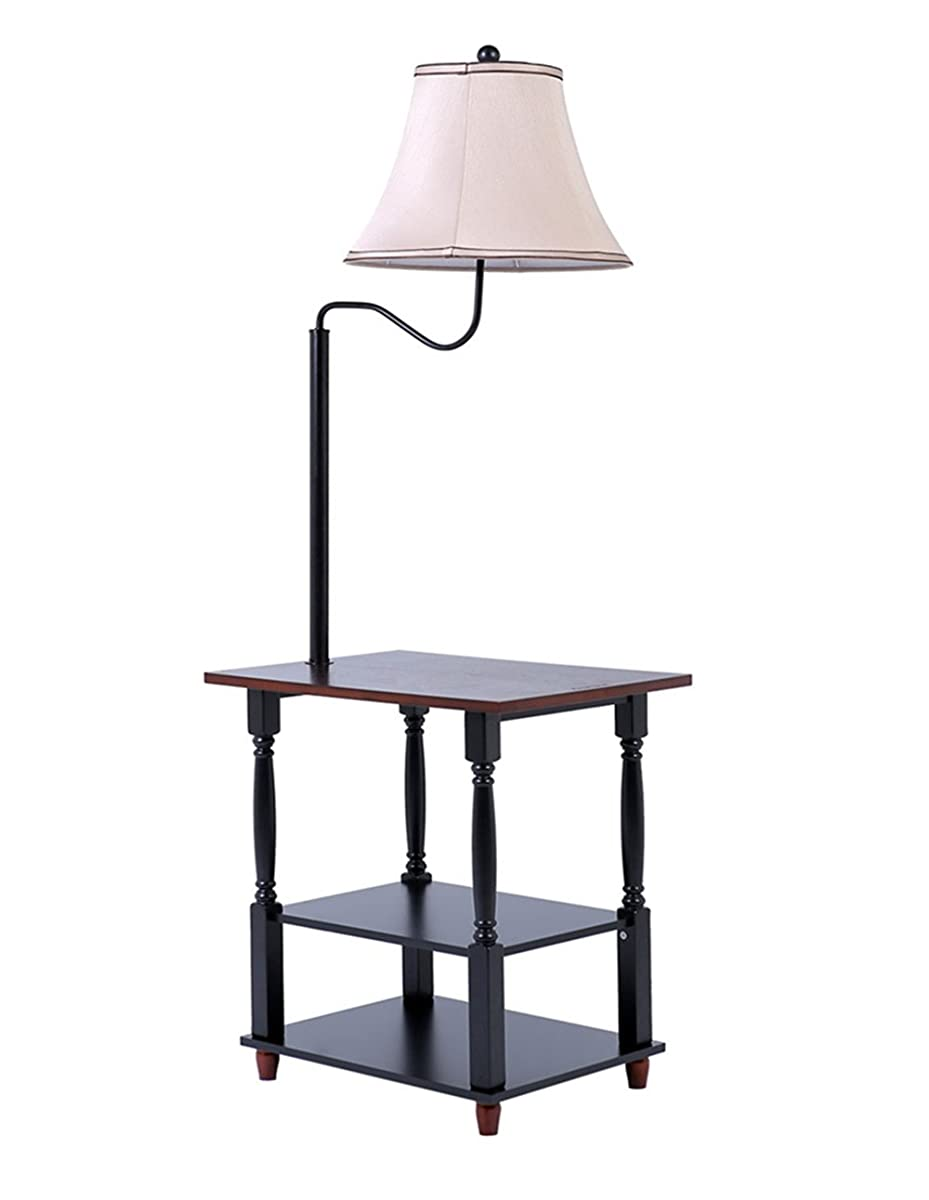 Madison Floor Lamp With End Table Swing Arm White Shade