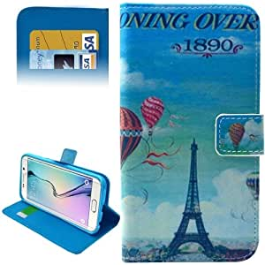Crazy4Gadget Eiffel Tower & Ballon Pattern Leather Case with Card Slots & Wallet for Samsung Galaxy S6 Edge / G9250