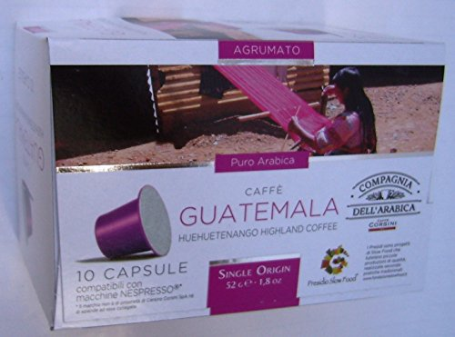 Choose Nespresso Compatible Capsules SINGLE ORIGIN Compagnia dell'Arabica - GUATEMALA HUEHUETENANGO HIGHLAND COFFEE - 10 caps / box (TOTAL: 30 caps) by Compagnia dell'Arabica - a Caffe Corsini S.p.A. company Group