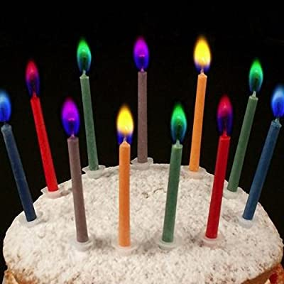 angel flames Coloured Birthday Cake Candles - Pack of 12 by angel flames