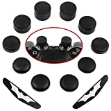 Zacro Silicone Thumb Stick Grips Cap Cover 10 Pack with 2 Pack Light Bar Decal Stickers for PS4 Controllers