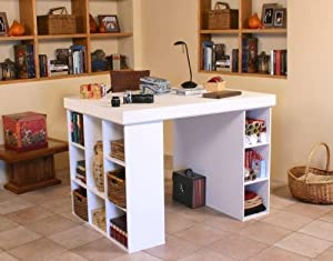 Craft and Project Center Desk -Top with 1 Bookcase & 3 Bin Cabinet 1151WH
