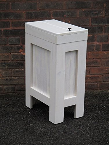 Wood Wooden Kitchen Trash Bin Garbage Can Rectangular 13 Gallon Whitewashed Stain Made From Eastern White Knotty Pine - Handmade in USA By Buffalowoodshop (White Wood Trash Can compare prices)