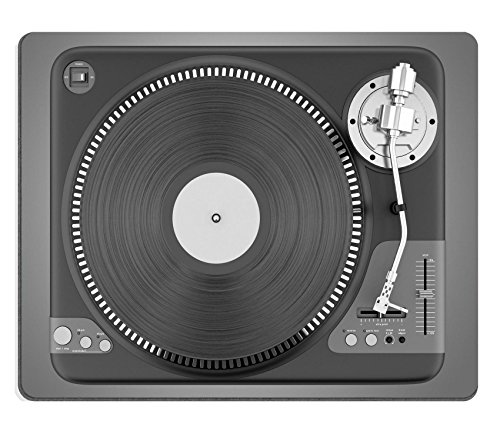 Luxlady Mousepads top view of black turntable isolated on gray background IMAGE 21362273