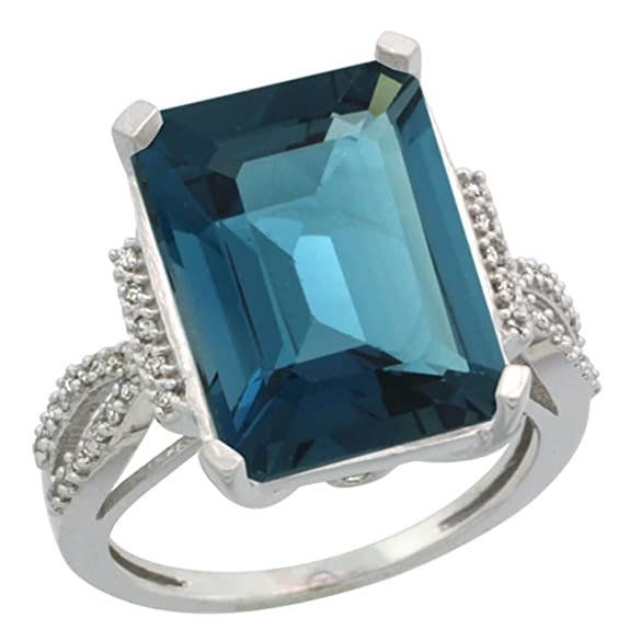 Revoni Sterling Silver London Blue Topaz & Diamond Ring, Emerald Shape (16x12mm)